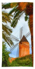 Beach Towel featuring the painting Windmill In Palma De Mallorca by Deborah Boyd