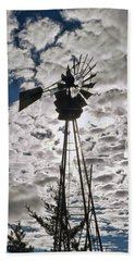 Beach Towel featuring the digital art Windmill In The Clouds by Cathy Anderson