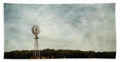 Windmill On The Farm Beach Towel by Beverly Stapleton