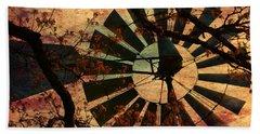 Windmill Through The Oak Beach Sheet by Deena Stoddard