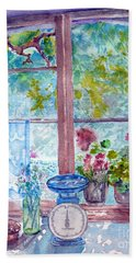 Beach Towel featuring the painting Window by Jasna Dragun
