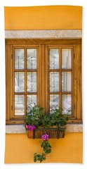 Window With Flowers Beach Towel