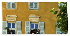 Beach Towel featuring the photograph Windowboxes In Nice France by Allen Sheffield