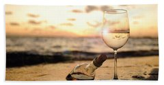 Wine And Sunset Beach Towel