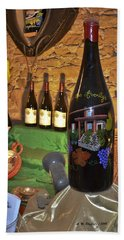 Wine Bottle On Display Beach Sheet