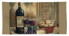 Wine For Two Beach Towel by Marilyn Dunlap