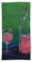 Wine Glass And Bottle Beach Towel