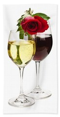 Wine With Red Rose Beach Towel