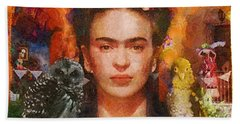 Wings Of Frida Beach Towel by Mo T