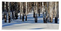 Beach Towel featuring the photograph Winter Aspens by Jack Bell