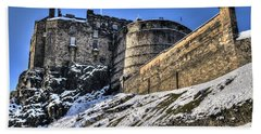 Winter At Edinburgh Castle Beach Towel