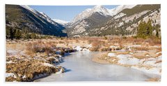 Winter At Horseshoe Park In Rocky Mountain National Park Beach Sheet