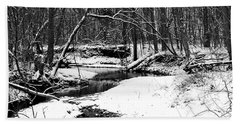 Beach Towel featuring the photograph Winter At Pedelo Black And White by Deena Stoddard