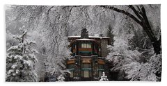 Winter At The Ahwahnee In Yosemite Beach Towel by Carla Parris