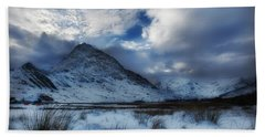 Winter At Tryfan Beach Towel by Beverly Cash
