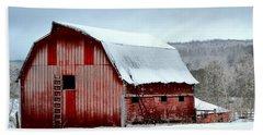 Winter Barn Beach Sheet by Deena Stoddard