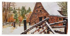 Beach Towel featuring the painting Winter - Barn - Snow In Nevada by Jan Dappen