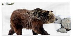 Winter Bear Walk Beach Towel by Athena Mckinzie