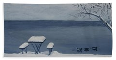 Winter By The Lake Beach Sheet