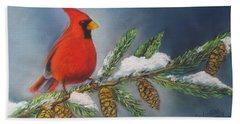Winter Cardinal 2 Beach Towel
