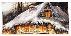 Winter Cottage Beach Sheet