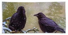 Winter Crows Beach Sheet by Ken Morris