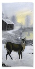 Winter Doe Beach Towel