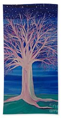Winter Fantasy Tree Beach Towel by First Star Art