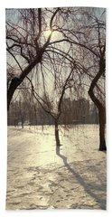 Willows In Winter Beach Towel by Henryk Gorecki