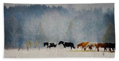 Beach Towel featuring the photograph Winter Horses by Ann Lauwers
