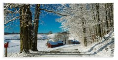 Winter In Vermont Beach Sheet by Edward Fielding