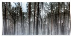 Winter Light In A Forest With Dancing Trees Beach Towel