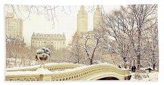 Winter - New York City - Central Park Beach Towel