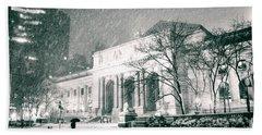 Winter Night In New York City - Snow Falls Onto 5th Avenue Beach Towel