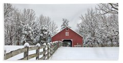 Winter On The Farm Beach Sheet by Benanne Stiens