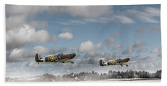 Winter Ops Spitfires Beach Sheet by Gary Eason