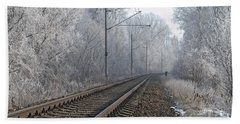 Winter Railroad Beach Sheet by Martin Capek