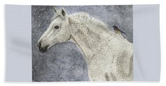 Beach Towel featuring the painting Winter Rider by Angela Davies