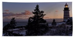 Winter Sentinel Lighthouse Beach Towel