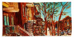 Beach Towel featuring the painting Winter Staircase by Carole Spandau