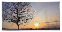 Winter Sunset Uk Beach Towel