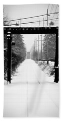 Beach Towel featuring the photograph Winter Tracks by Aaron Berg