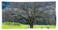 Winter Tree With Cows By The Umpqua River Beach Towel