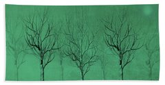 Winter Trees In The Mist Beach Towel
