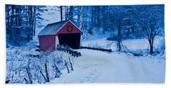 winter Vermont covered bridge Beach Towel