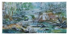 Beach Towel featuring the painting Winter Whispers On Catskill Creek by Ellen Levinson