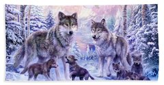 Winter Wolf Family  Beach Towel