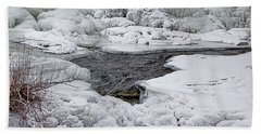 Beach Sheet featuring the photograph Vermillion Falls Winter Wonderland by Patti Deters