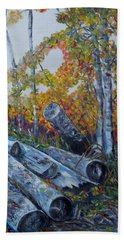 Beach Towel featuring the painting Winter's Firewood by Marilyn  McNish