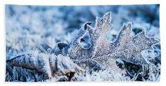 Winter's Icy Grip Beach Sheet